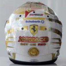 Casco especial de Fernando Alonso para el GP de Mónaco 2012 (trasera)