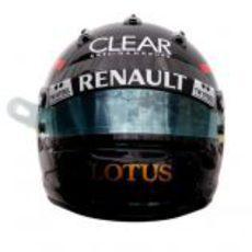 Vista frontal del casco de Kimi Räikkönen para el GP de Mónaco 2012