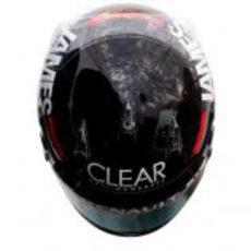 Vista superior del casco de Kimi Räikkönen para el GP de Mónaco 2012