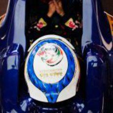 Jean-Eric Vergne lleva un diseño especial en su casco en Mónaco