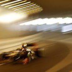 Romain Grosjean en el túnel de Mónaco durante los FP2
