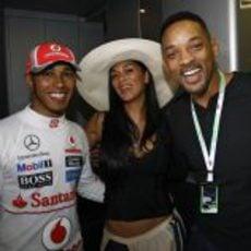 Will Smith, Nicole Scherzinger y Lewis Hamilton en el GP de Mónaco 2012