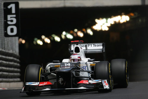 Kamui Kobayashi abandona el túnel de Mónaco