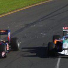 Sutil y Webber chocan en la pista