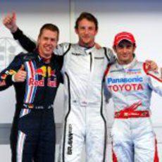 Button, Trulli y Vettel