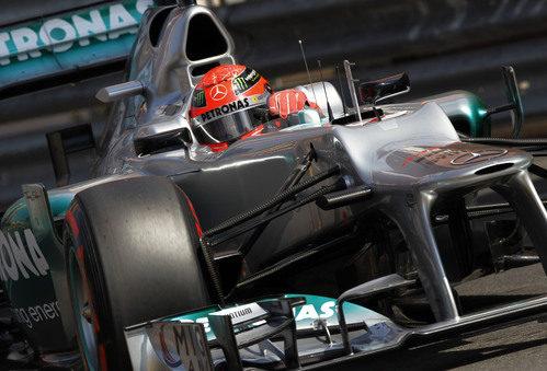 Michael Schumacher durante la clasificación del GP de Mónaco