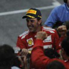 Fernando Alonso feliz tras quedar tercero en Mónaco