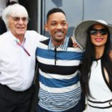 Bernie Ecclestone, Will Smith y Nicole Scherzinger en el GP de Mónaco 2012