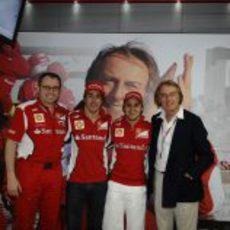 Stefano Domenicali, Fernando Alonso, Felipe Massa y Luca di Montezemolo en Mónaco