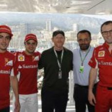 Alonso, Massa y Domenicali junto al director Ron Howard
