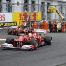 Fernando Alonso durante la carrera del GP de Mónaco