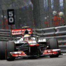 Lewis Hamilton durante el Gran Premio de Mónaco