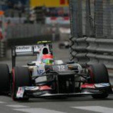 Sergio Pérez durante la carrera del Gran Premio de Mónaco