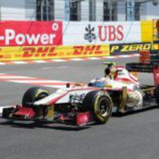 Narain Karthikeyan durante la clasificación del GP de Mónaco