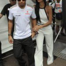 Lewis Hamilton y Nicole Scherzinger en el GP de Mónaco 2012