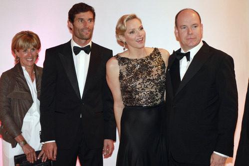 Los Príncipes de Mónaco con Mark Webber y su mujer en la gala de Mónaco