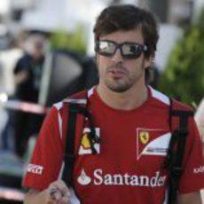 Fernando Alonso llega al circuito de Montreal