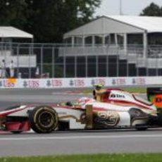 Narain Karthikeyan rueda en los Libres 1 del GP de Canadá