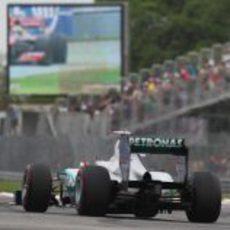 Michael Schumacher rueda con los superblandos en Canadá