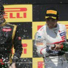 Sergio Pérez y Romain Grosjean en el podio de Canadá