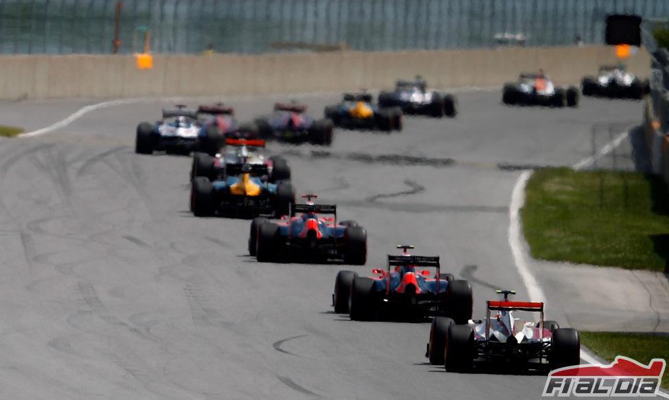La cola del pelotón en el GP de Canadá 2012