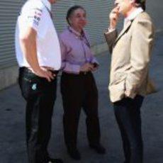 Ross Brawn, Jean Todt y Luca di Montezemolo en Valencia