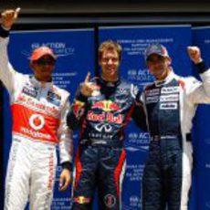 Lewis Hamilton, Sebastian Vettel y Pastor Maldonado, los más rápidos en Valencia 2012