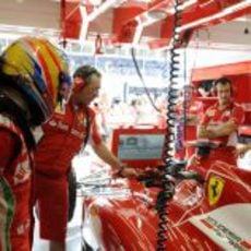 Fernando Alonso se prepara para conducir el F2012