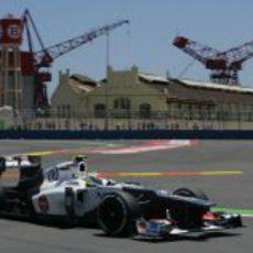 Sergio Pérez mejors sus cronos en la clasificación