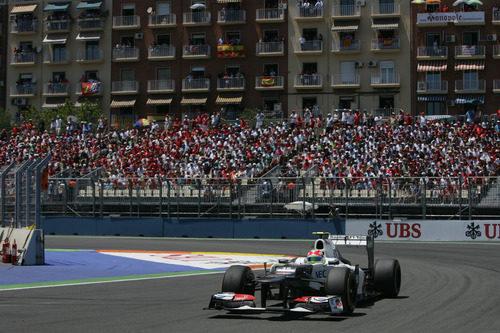 Sergio Pérez optó por una estrategia a dos paradas en Valencia
