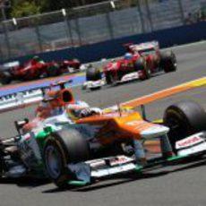 Paul di Resta rueda con blandos en la carrera de Valencia