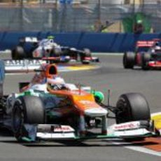 Paul di Resta completó las 57 vueltas del GP de Europa