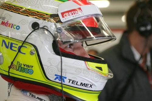 El casco de Sergio Pérez