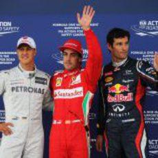 Alonso, Schumacher y Webber saldrán desde lo más alto de la parrilla