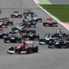 Primera curva del GP de Gran Bretaña 2012