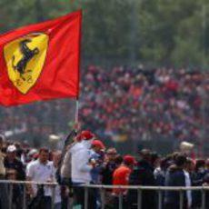 Gran bandera de Ferrari en las gradas de Silverstone 2012