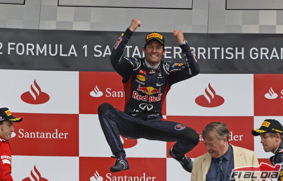 Mark Webber hizo el salto del canguro en el podio de Silverstone