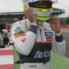 Sergio Pérez en los instantes previos durante el GP Gran Bretaña 2012