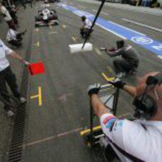 Pit stop para el equipo Sauber