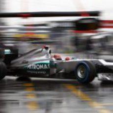 Michael Schumacher sale a pista en el Gran Premio de Alemania