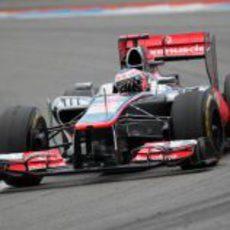 Jenson Button logró terminar en el podio en Alemania