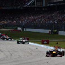 Sebastian Vettel mantuvo la posición en la salida en Hockenheim