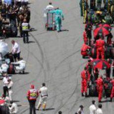 Nico Rosberg, en un lugar inusual de la parrilla