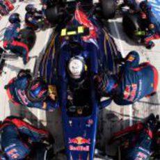 Plano cenital de un pitstop de Toro Rosso
