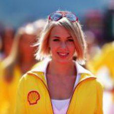 Una de las 'pit babes' del GP de Bélgica 2012