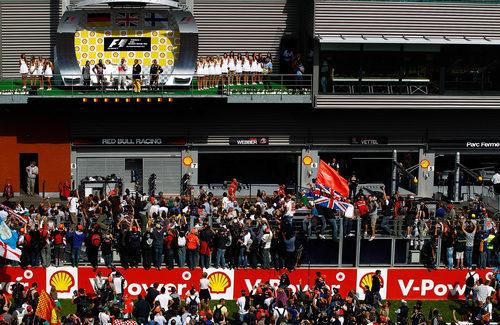 El podio del Gran Premio de Bélgica