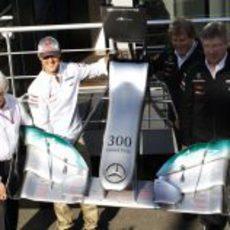 Mercedes regaló a Michael Schumacher un alerón muy especial