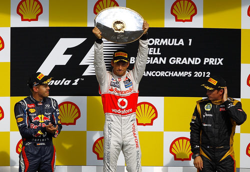 Los tres mejores del GP de Bélgica 2012 en el podio