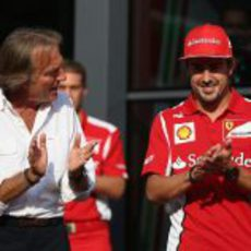 Luca di Montezemolo y Fernando Alonso en Monza 2012