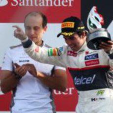 Sergio Pérez en el podio del GP de Italia 2012